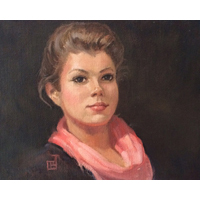 """Girl with a Pink Scarf""  by Carol Brightman Johnson - Oil on linen"