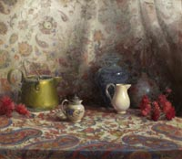 """Still Life with Kashmiri Cloth""  by Kate Hall - oil"